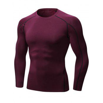 Stretchy Quick Dry Suture Long Sleeve T-shirt - WINE RED WINE RED