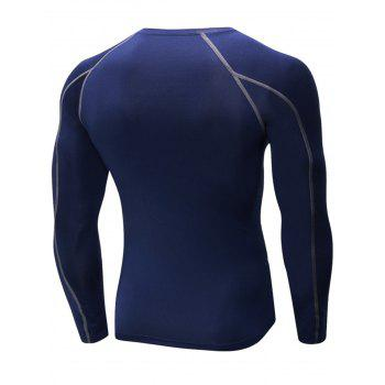 Stretchy Quick Dry Suture Long Sleeve T-shirt - CADETBLUE L