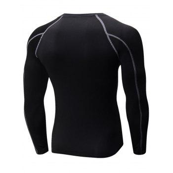 Stretchy Quick Dry Suture Long Sleeve T-shirt - BLACK/GREY L
