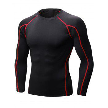 Stretchy Quick Dry Suture Long Sleeve T-shirt - BLACK&RED BLACK/RED