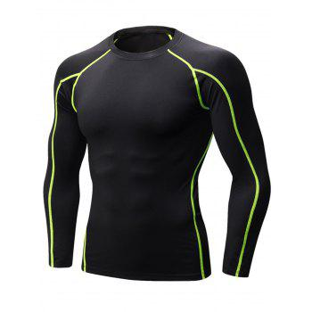 Stretchy Quick Dry Suture Long Sleeve T-shirt - BLACK AND GREEN BLACK/GREEN