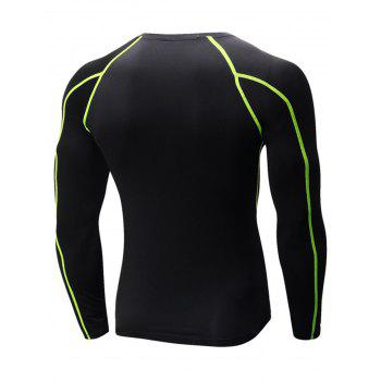 Stretchy Quick Dry Suture Long Sleeve T-shirt - BLACK/GREEN L