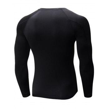 Stretchy Quick Dry Suture Long Sleeve T-shirt - BLACK L