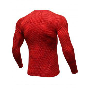 3D Geometric Print Stretchy Quick Dry T-shirt - RED RED