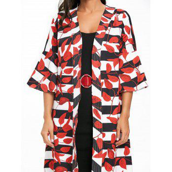 Leaves Print Bell Sleeve Striped Maxi Coat - RED M