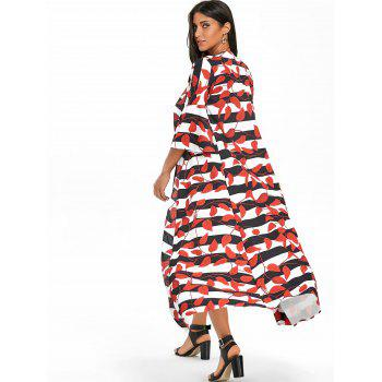 Leaves Print Bell Sleeve Striped Maxi Coat - RED L