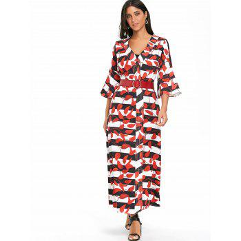 Leaves Print Bell Sleeve Striped Maxi Coat - RED XL