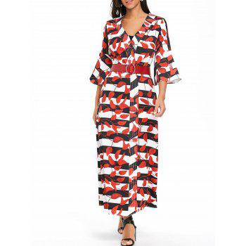 Leaves Print Bell Sleeve Striped Maxi Coat - RED RED