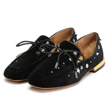 Tie Up Front Square Toe Rivet Flats - BLACK 39