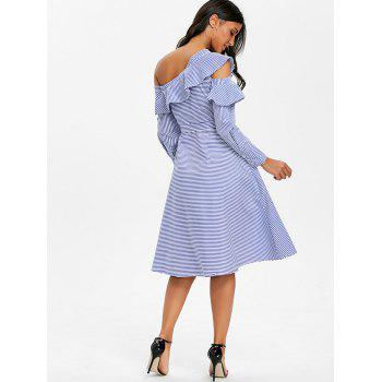 Skew Neck Striped Ruffled Dress - BLUE L
