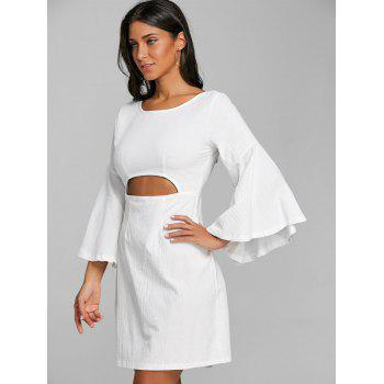 Flare Sleeve Cut Out Bowknot Mini Dress - WHITE S