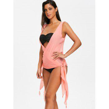Plunge Neck Asymmetric Wrap Cover Up - ORANGEPINK ONE SIZE