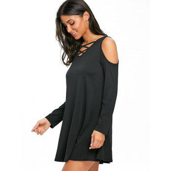 Criss Cross Cold Shoulder Mini Swing Dress - BLACK BLACK