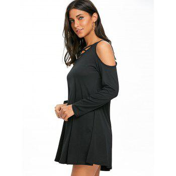 Criss Cross Open Shoulder Mini Dress - BLACK XL