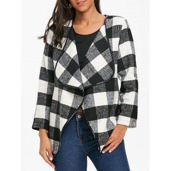Asymmetrical Open Front Plaid Coat - WHITE AND BLACK WHITE/BLACK