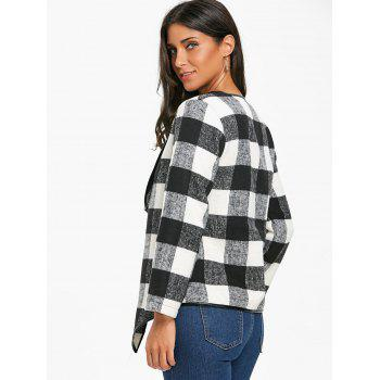Asymmetrical Open Front Plaid Coat - WHITE/BLACK WHITE/BLACK