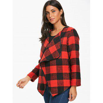Asymmetrical Open Front Plaid Coat - DEEP RED L