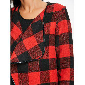 Asymmetrical Open Front Plaid Coat - DEEP RED DEEP RED