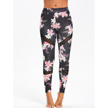 Floral Print Mesh Panel High Waist Leggings - COLORMIX COLORMIX