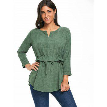 Peplum Drawstring Blouse - GREEN M