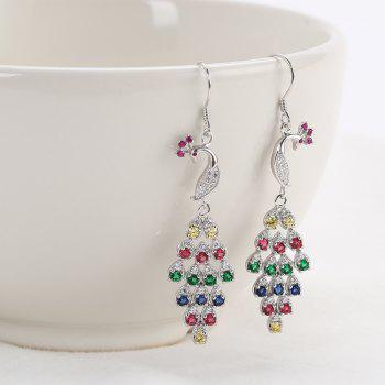 Peacock Shaped Colorful Crystal Sliver Drop Earrings - COLORMIX COLORMIX