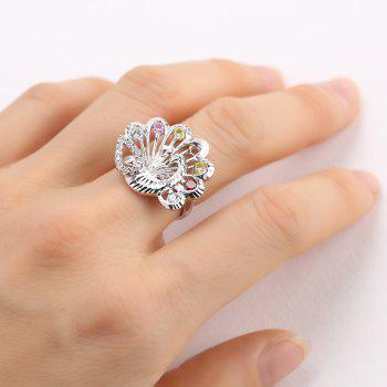 Delicate Colorful Faux Crystals Peacock Ring - SILVER SILVER