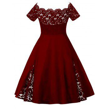 Plus Size Off Shoulder Lace Panel Dress - WINE RED XL