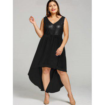 Plus Size High Low Hem Sequined Dress - BLACK XL