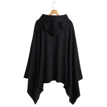 Unicorn Asymmetrical Handkerchief Poncho Hoodie - BLACK ONE SIZE
