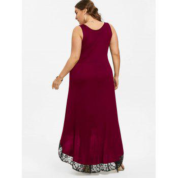 High Low Plus Size Party Maxi Dress - WINE RED 3XL