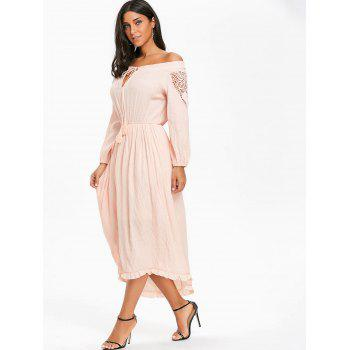 Crochet High Low Off The Shoulder Dress - PINK L