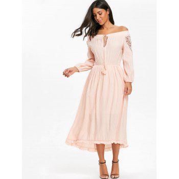 Crochet High Low Off The Shoulder Dress - PINK M