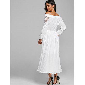 Crochet High Low Off The Shoulder Dress - WHITE WHITE