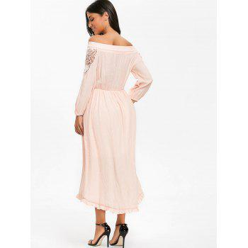 Crochet High Low Off The Shoulder Dress - PINK XL