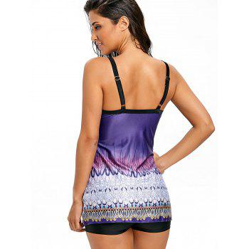 Ethnic Graphic Empire Waist Tankini Set - PURPLE XL