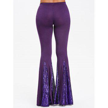 Sequined Flare Pants - PURPLE M