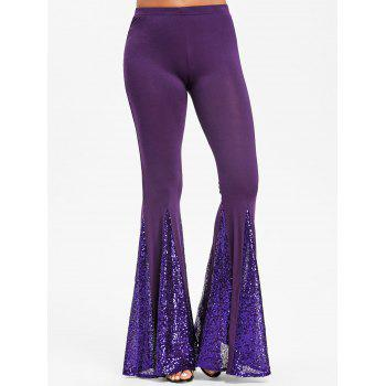Sequined Flare Pants - PURPLE XL