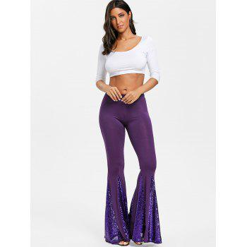 Sequined Flare Pants - PURPLE 2XL