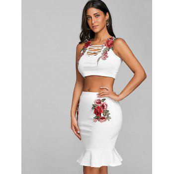 Floral Embroidery Crop Top and Bodycon Skirt - WHITE S