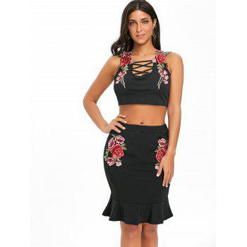 Floral Embroidery Crop Top and Bodycon Skirt - BLACK S