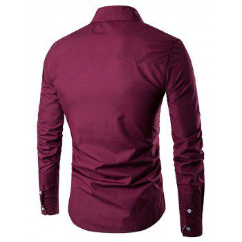 Contrast Vertical Stripe Casual Shirt - WINE RED M