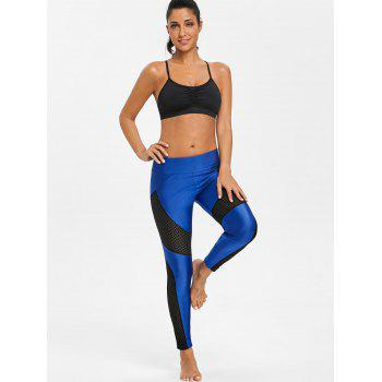See Through Workout Leggings with Mesh Insert - BLUE XL