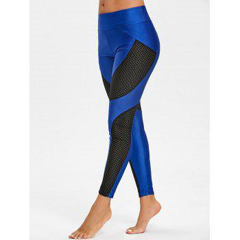 See Through Workout Leggings with Mesh Insert - BLUE L