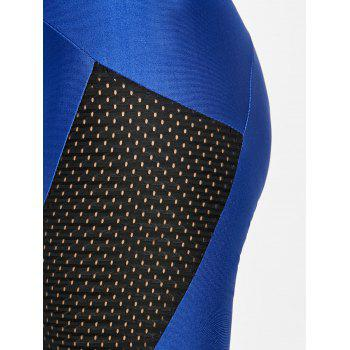 See Through Workout Leggings with Mesh Insert - BLUE S