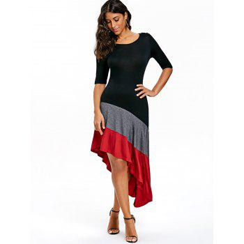 Color Block Asymmetric Dress - BLACK M