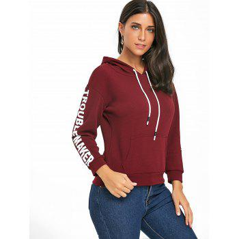 Pullover Drawstring Graphic Hoodie - WINE RED XL