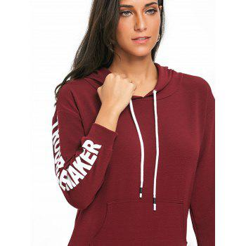 Pullover Drawstring Graphic Hoodie - WINE RED L
