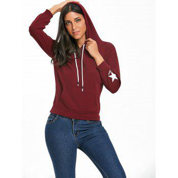Pullover Drawstring Graphic Hoodie - WINE RED S