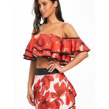 Off The Shoulder Layered Floral Crop Top - RED S