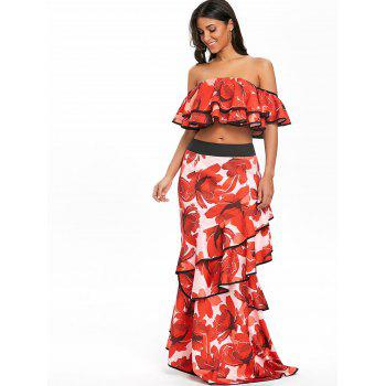 Off The Shoulder Layered Floral Crop Top - RED L